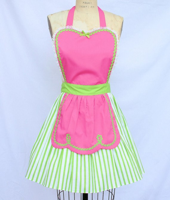 FIFTIES Diner Waitress RETRO turq PINK womens full apron ice cream parlor sexy hostess bridal shower gift vintage inspired Candy shop - loverdoversclothing