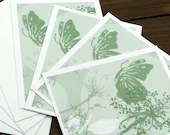 pale green butterfly notecards-set of 4 - PrettyMuchArt