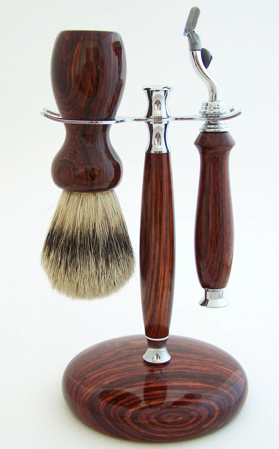 Cocobolo Wood 24mm Silvertip Badger Brush, Mach 3 Razor and Stand Shaving Set (Handmade in USA) - PCwoodcraftandPens