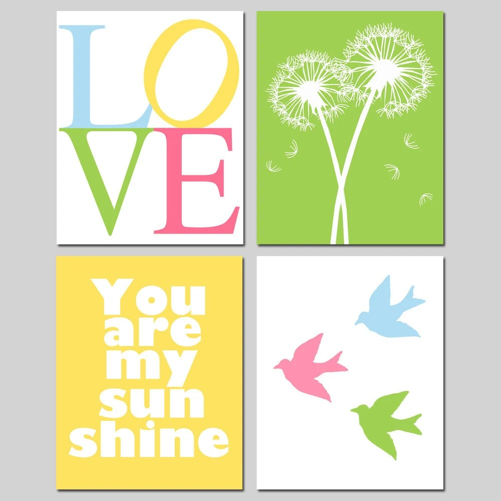 Nursery Quad - Set of Four 11x14 Prints - You Are My Sunshine, Balloons, LOVE Stencil, Lollipops, Tree Dot, Baby Birds, Keep Calm