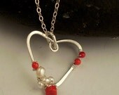 Wire wrapped heart necklace, pearl, coral, SS - JudysDesigns