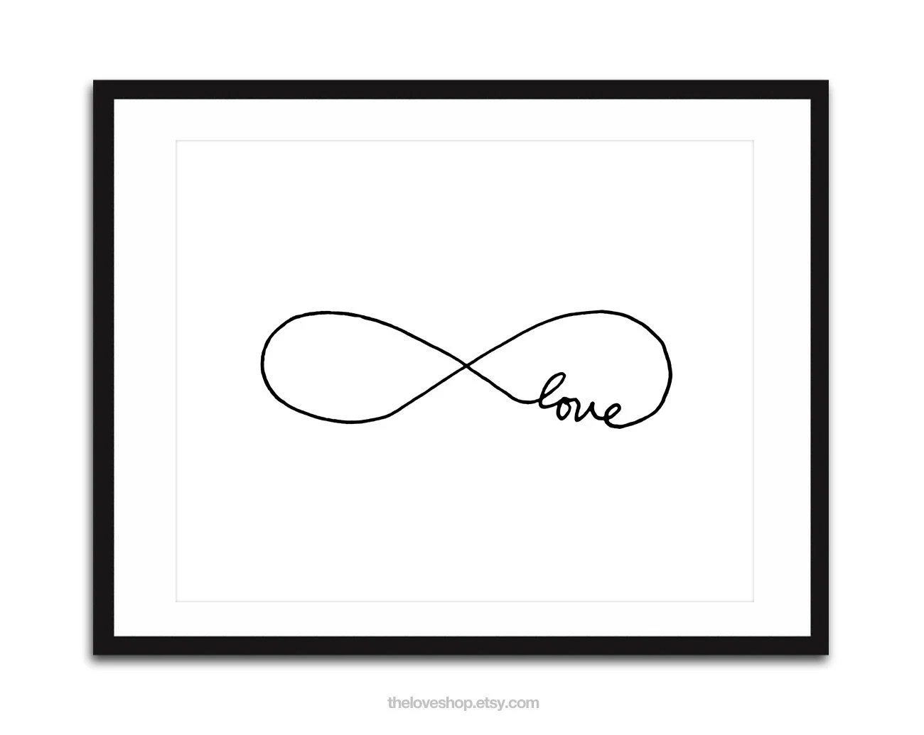 Endless Love -  Infinity, 16x20 inches on A2 Poster (in Crisp White and Black)