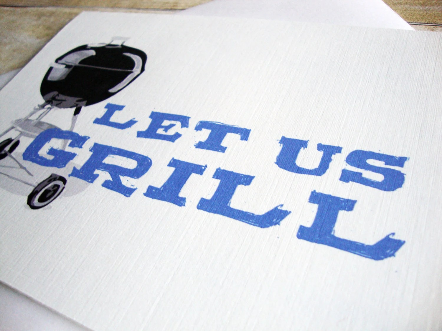 Let Us Grill -- Grilling Invitation Greeting Card (set of 10) - aLouCreations