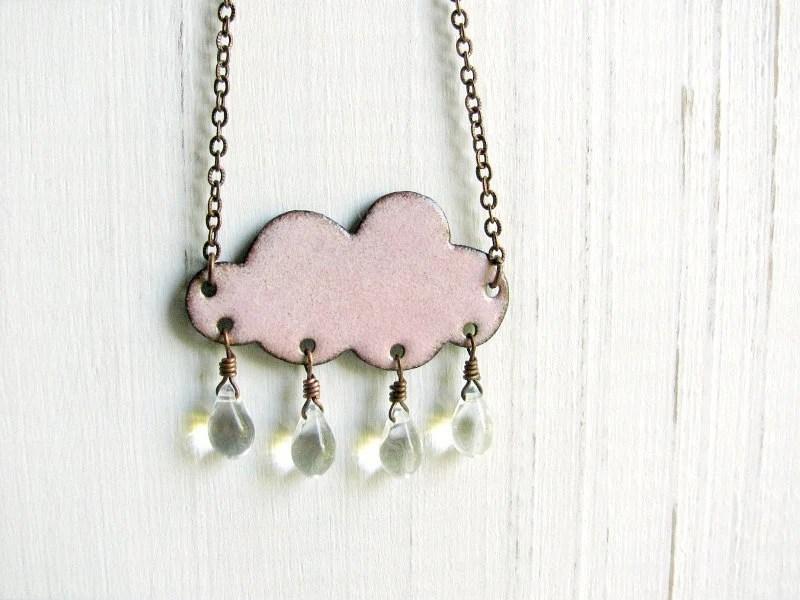 Pink Cloud Necklace - Enamel On Copper, Glass Raindrops - happyment