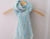 Frothy, light winter scarf in soft blue, white and mint green - WrensNestCreations