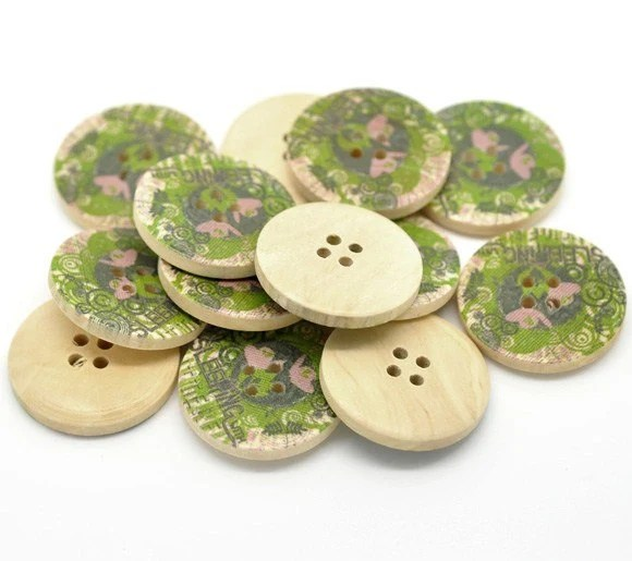 Olive Green and Pink Flower Pattern Wooden Sewing Buttons 3cm - Natural wood button set of 6  (105Q) - EcoCraftSupply