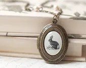 Woodland Bunny locket necklace - Black friday sale - Gift for her under 25 USD (L008) - BeautySpot