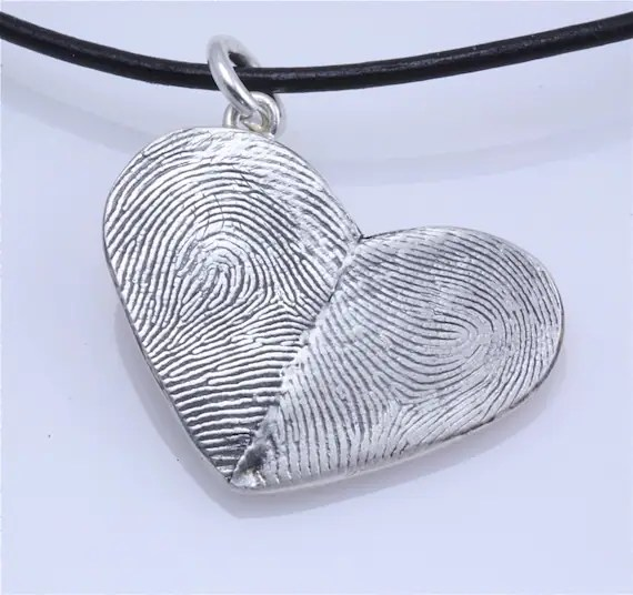Sterling Silver Custom Double Thumbprints Heart Pendant or Charm