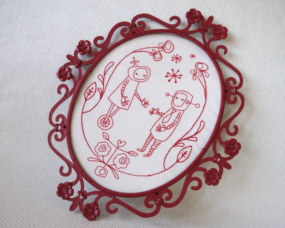 Binary Folk Embroidery Pattern