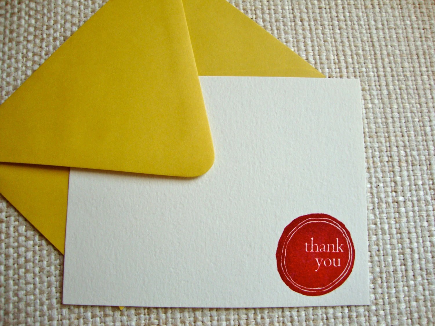 Thank you cards - hand stamped and embossed set of 5