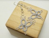 Tiny Tatted Butterfly Earrings -PIXIES with Sterling beads
