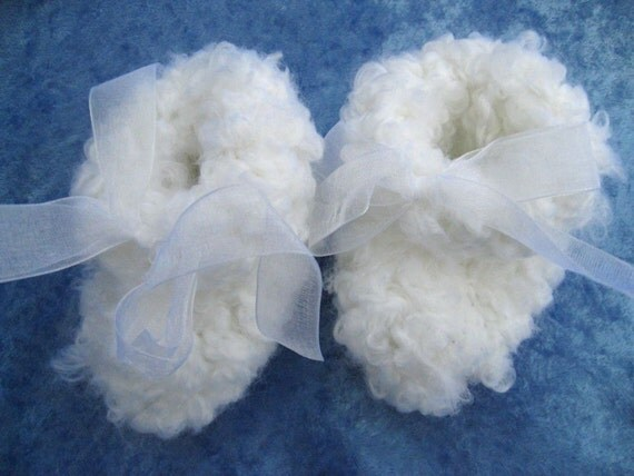 Fluffy Cloud Booties (size 0-6 months)-- Pure White -- Free Priority Shipping on orders over 50 dollars - ShoeDweller