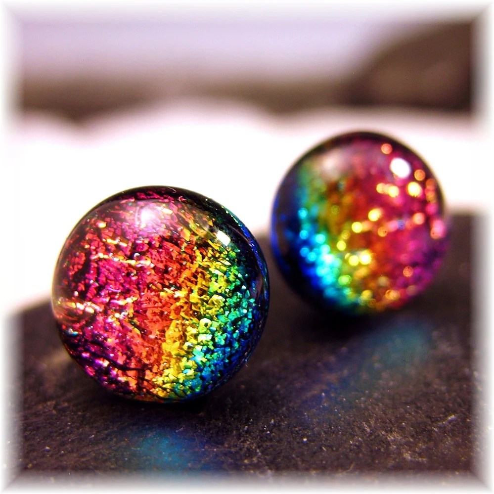 Sparkling Dichroic Cha Cha Rainbow Dichroic Fused Glass Post, Stud Earrings 10mm.