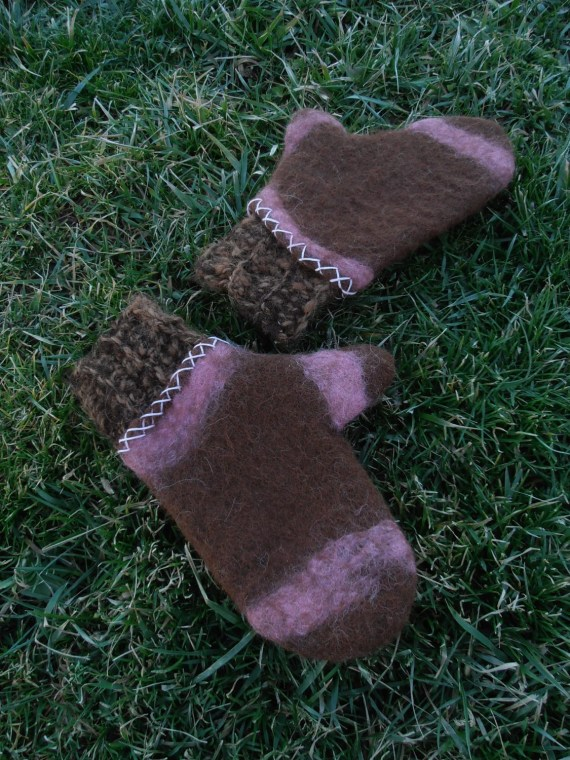 Handfelted Alpaca Mittens With Crocheted Cuff