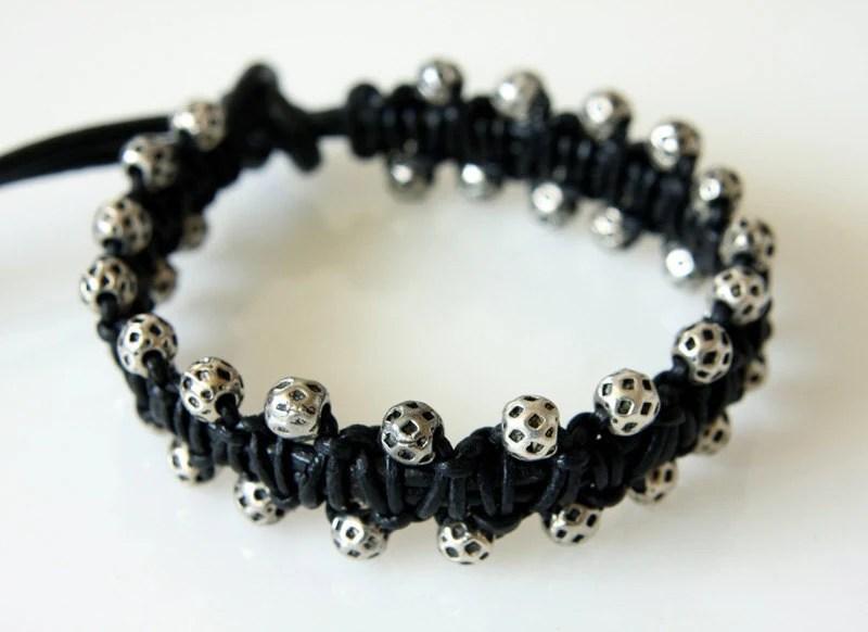 Macrame Leather Bracelet, Friendship Bracelet, Unisex Bracelet, Men's Bracelet, Black Leather - crystalglowdesign