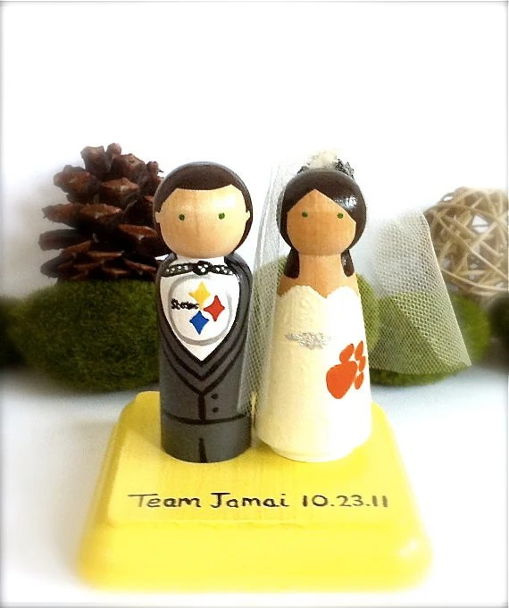 Sport Wedding Cake Toppers Pittsburgh Steelers Any Sports Team Themed Bride Groom Custom Baseball Football Basketball Wood Peg Dolls Nfl Mlb