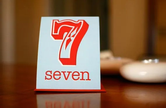 Lucky Number Seven (7) Birthday or Anniversary Card in Aqua Blue & Red on 100% Recycled Paper