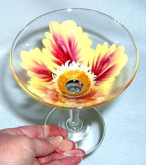 Yellow and Burgandy Passion Flower Martini Glass Hand Painted - ConniesCreations2010