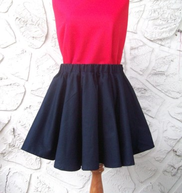 Made to Order - Cotton Double Circle Mini Skirt - Choice of Colors - Cute and Sexy - PLUS SIZE AVAILABLE - Free Ship ....