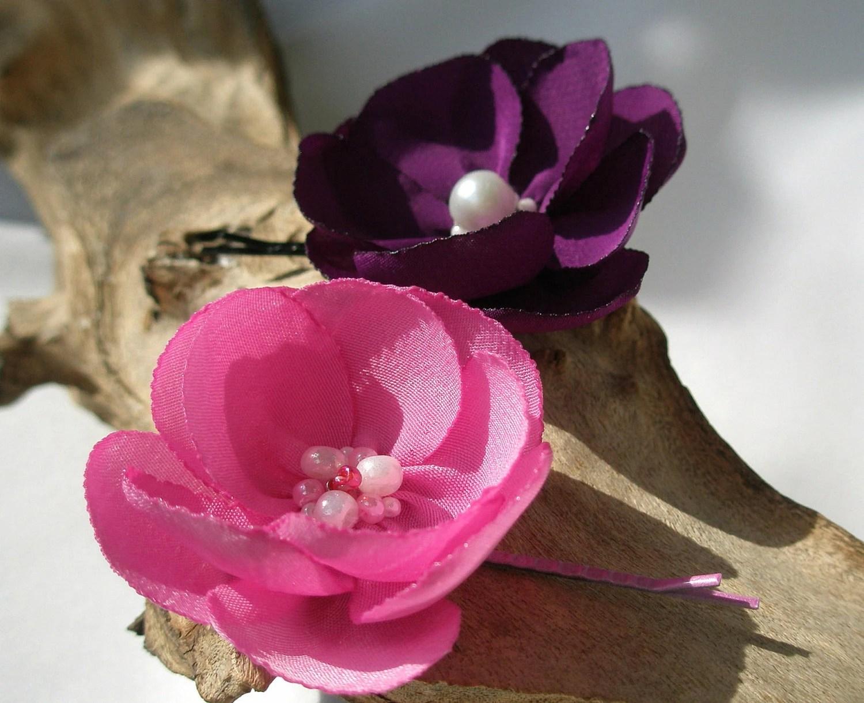 Pink And Purple Flower Bobby Pin Set - cushyadornments