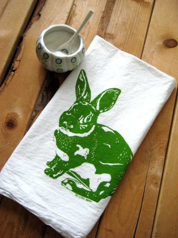 Screen Printed Organic Cotton Rabbit Flour Sack Tea Towel - Eco Friendly Kitchen Towel - Easter Bunny