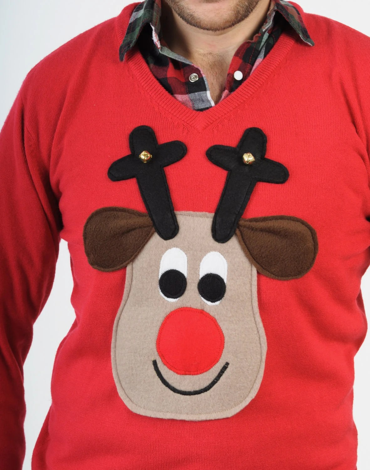 Rudolph Reindeer Christmas Sweater with squeaker behind his nose and bells on his antlers