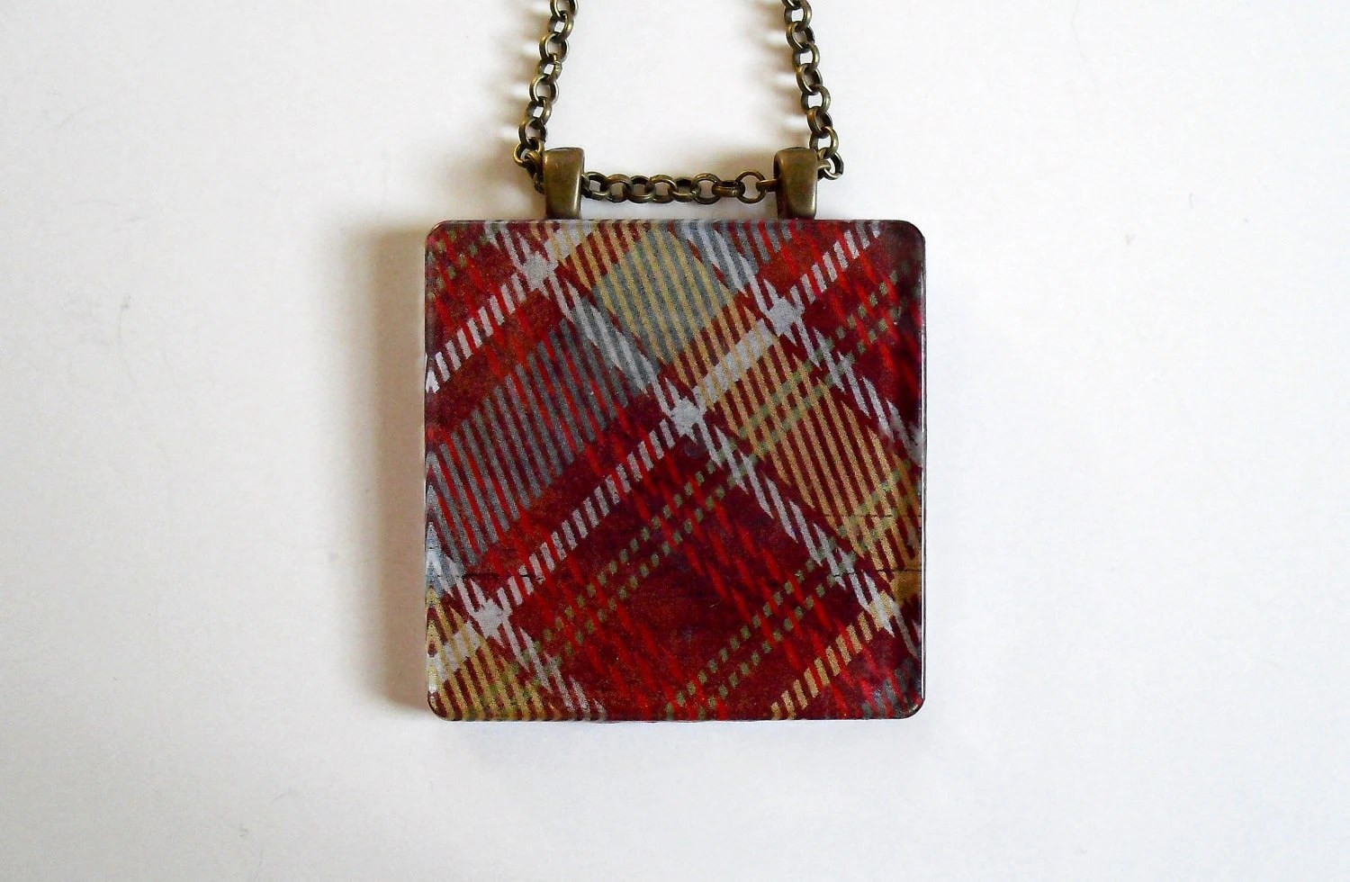 Red Plaid Collage Pendant on Antiqued Brass Chain with Embossed Alphabet - SweetAvenueJewelry