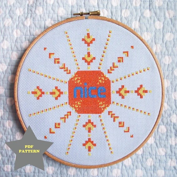 Nice Sun Cross Stitch Pattern PDF