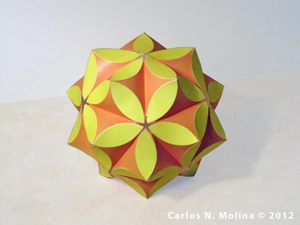Paper Art - Sculpture - kusudama - Yellow, Orange