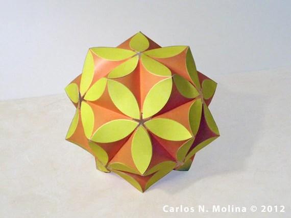 Paper Art - Sculpture - kusudama - Yellow, Orange