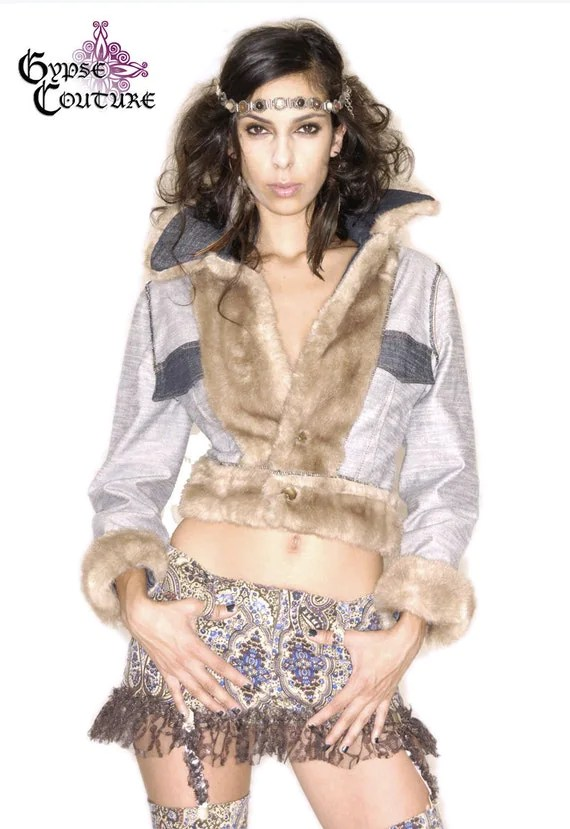 SALE Cool Cat Denim Fitted Jean Jacket w/ Faux Fur Trim and Mandala Patchwork - gypsecouture