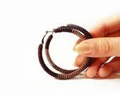 Crochet Tube Hoop Earrings Chocolate Brown - vanessahandmade