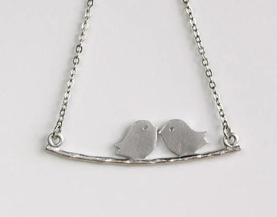 Love birds on Branch Necklace, kissing birds, by balance9