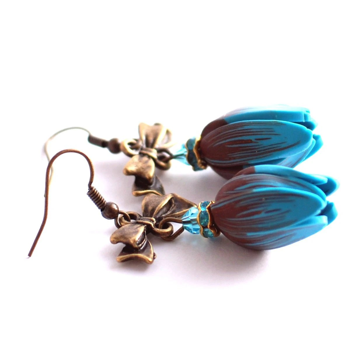 Turquoise blue and brown flower tulip earrings with bow - Rotdaris