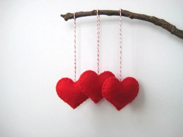 Red Heart Eco Felt Ornament - Handmade - Valentine's Day - Christmas Tree Ornament - Holiday Decoration - SweetPB