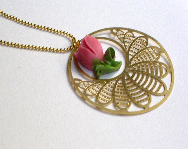 Gold plated pink  tulip pendant - HirasuGaleri