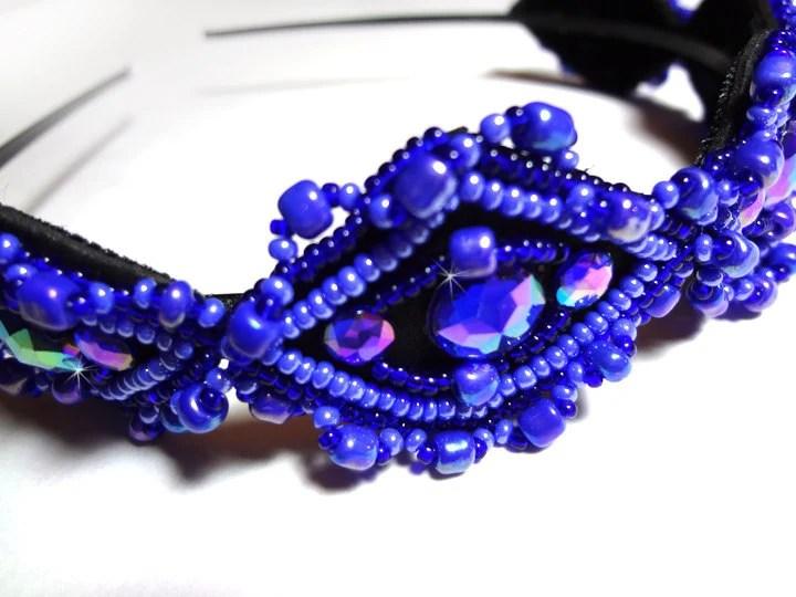 Colbalt Blue Headband - Unique Hand Beaded Hair Accessory - MegansBeadedDesigns