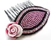 Pink Rose Rhinestone Comb - Black Beaded Hair Comb - MegansBeadedDesigns
