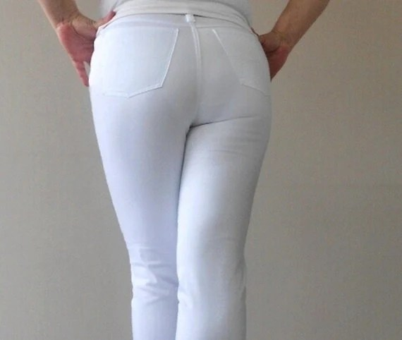 High Waist Five pockets white women's pants Elastic cotton soft and lightweight fabric  Plus sizes L-XL-XXL - Gorgones