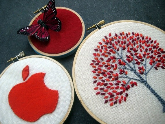 Apple Tree Trio - Apple Tree, Butterfly and Apple hand embroidered hoop art trio