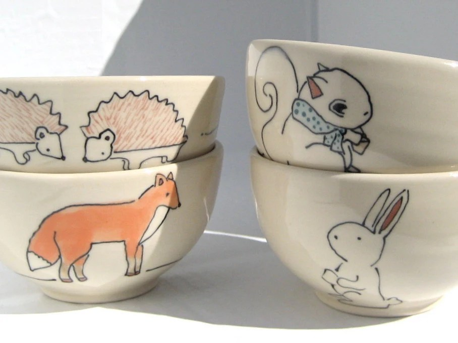 Dessert Bowls - Set of Four Woodland Animals - Handmade Ceramic Bowls- Housewarming Gift