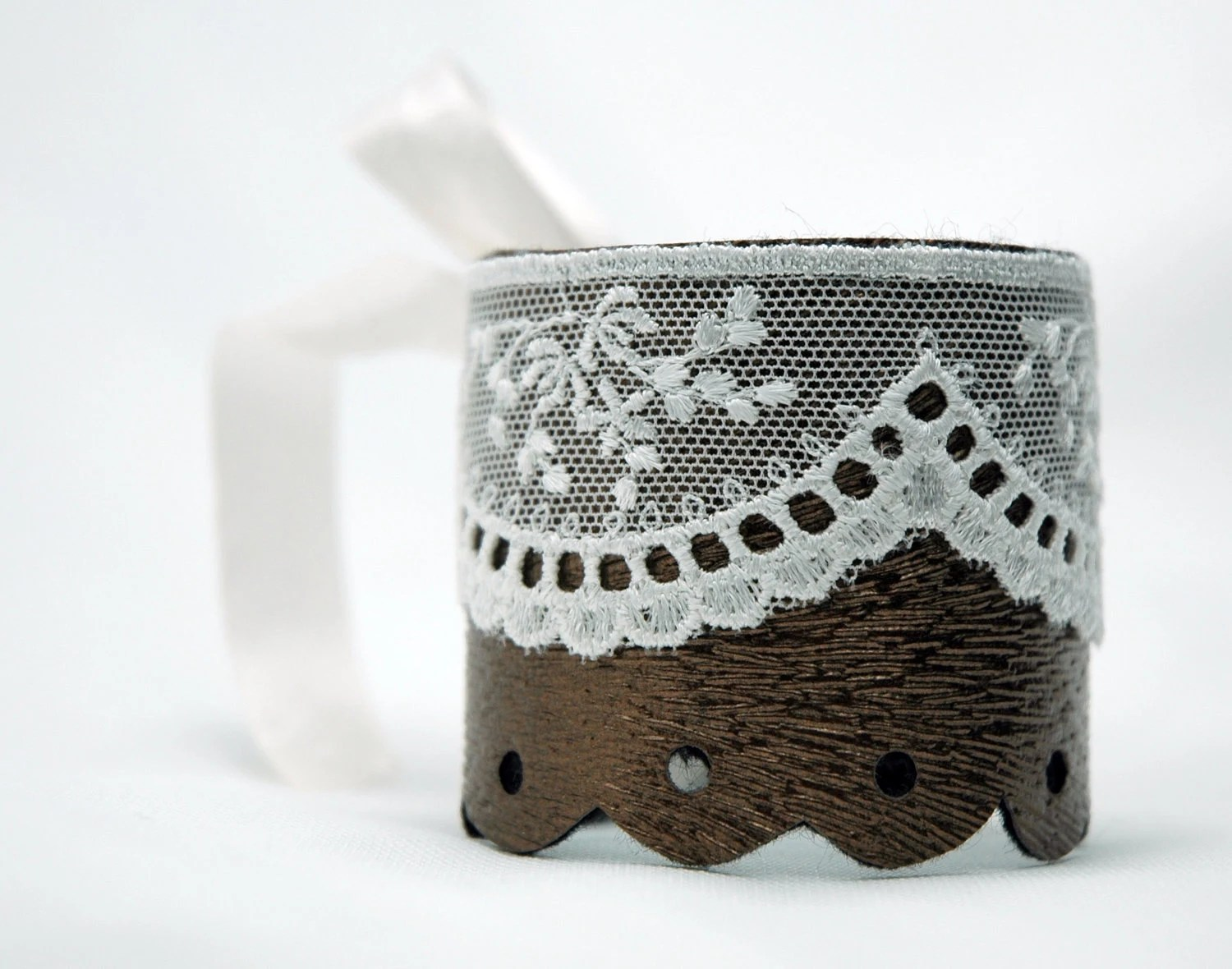 Copper Brown Leather Lace Romantic Cuff Bracelet - Myvera