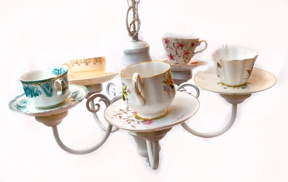 Handmade Teacup Chandelier using repurposed light fixture and vintage teacups in adorable white and pink - ON SALE