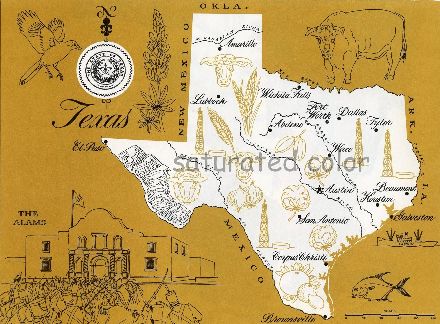 Texas Map - Mustard Yellow Vintage colorful illustrated map of Texas - 1960s picture map - Fun Retro Colors