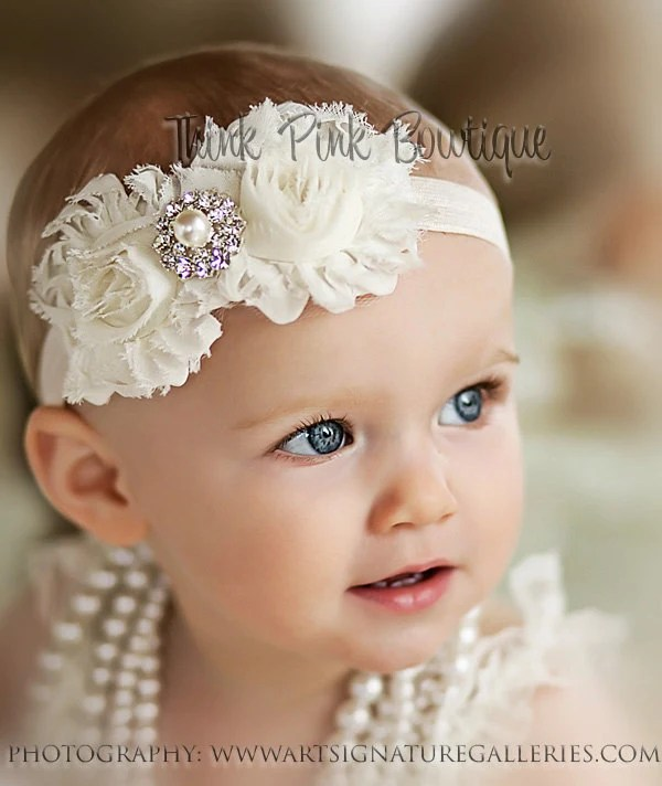 Ivory Headband, baby girl headband,Newborn Headband, shabby chic flower headband, baby bows.