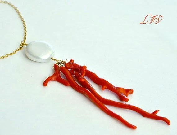 Pearl Red Coral Necklace - luxurybyvera