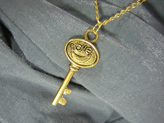 Golden Love Key Simple Charm Necklace - Handmade by Rewondered D225N-00601 - $7.95