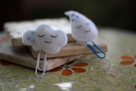 Paperclip Bookmark Felt Cloud and Raindrop Set - Willowfolk