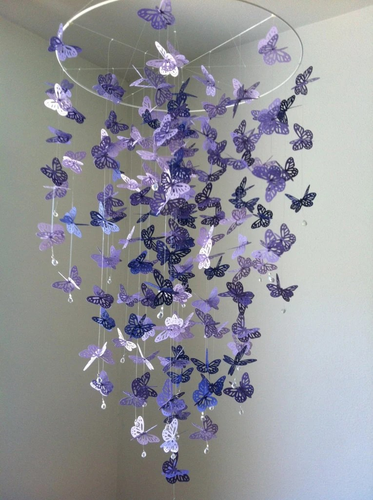 Monarch Butterfly Chandelier  Mobile - purple