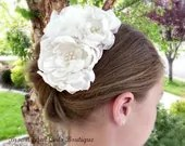 Ivory Bridal Flower Hair Clip Trio, Wedding Hair Accessory, Fascinator, Satin and Organza, Pearl Beads, Bridal Head Piece - browneyedgirlsboutiq